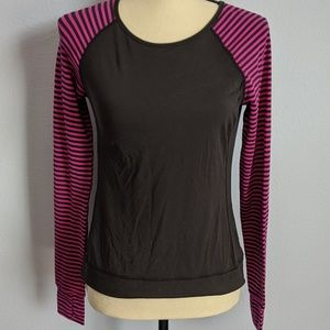 Lucy Pink and Black Long Sleeve Workout Top Small